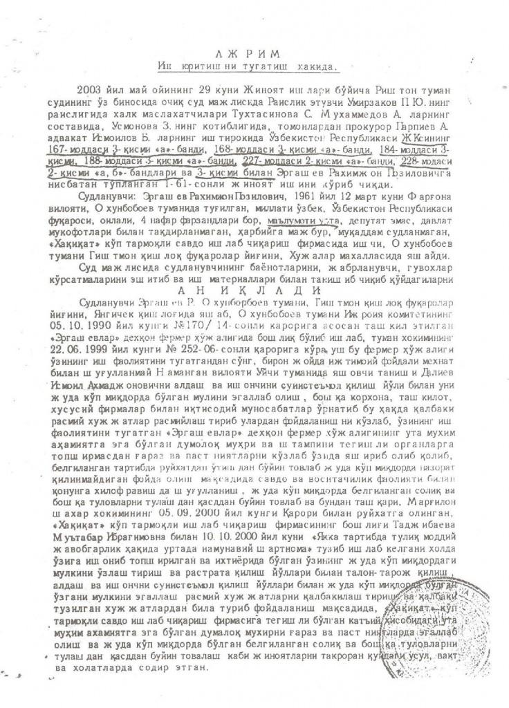 29.05.2003. Ish yuritishni tugatish haqida JIB Rishton tuman sudi Ajrimi 1 - копия