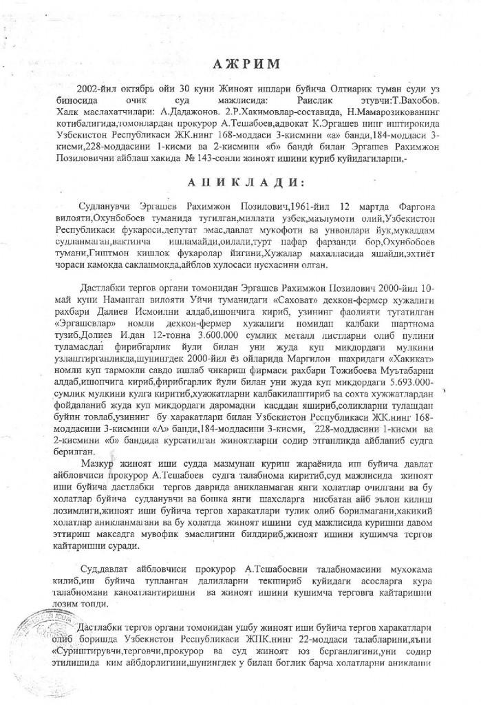 30.10.2002. JIB Oltiariq tuman sudi Ajrimi 1